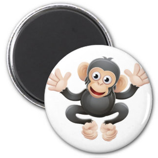 Chimpanzee Animal Cartoon Character 6 Cm Round Magnet