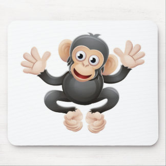 Chimpanzee Animal Cartoon Character Mouse Pad