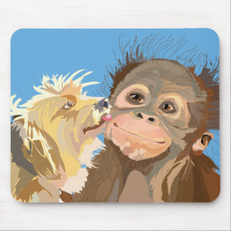 Chimpanzee baby and terrier mousepad