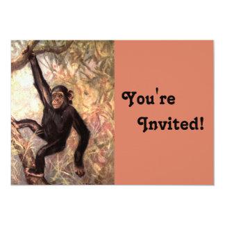 Chimpanzee Birthday Party 13 Cm X 18 Cm Invitation Card