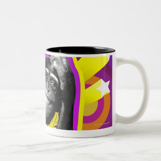Chimpanzee DJ Two-Tone Coffee Mug