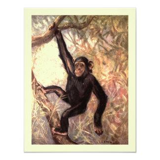 Chimpanzee Hanging in Tree 11 Cm X 14 Cm Invitation Card