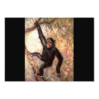 Chimpanzee Hanging in Tree 13 Cm X 18 Cm Invitation Card