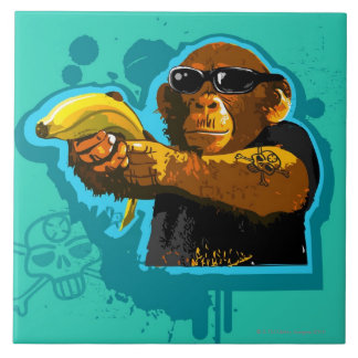 Chimpanzee Holding a Banana Large Square Tile