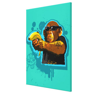 Chimpanzee Holding a Banana Stretched Canvas Prints