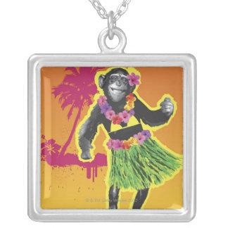 Chimpanzee Hula Dancing Silver Plated Necklace