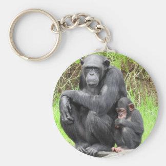 Chimpanzee Key Ring Basic Round Button Key Ring