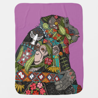 chimpanzee love orchid baby blanket