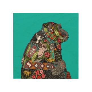 chimpanzee love turquoise/green wood print