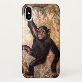 Chimpanzee Monkey by CE Swan, Vintage Wild Animals iPhone X Case