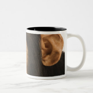 Chimpanzee (Pan troglodytes). Young playfull 2 Two-Tone Coffee Mug