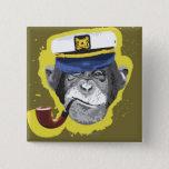 Chimpanzee Smoking Pipe 15 Cm Square Badge