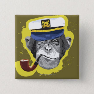 Chimpanzee Smoking Pipe 15 Cm Square Badge