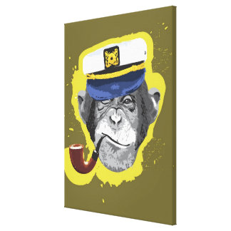 Chimpanzee Smoking Pipe Canvas Print