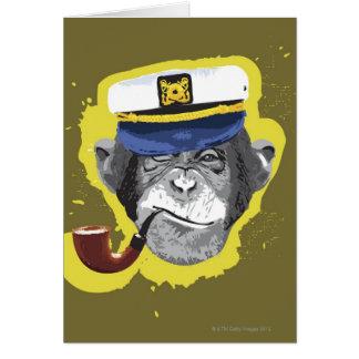 Chimpanzee Smoking Pipe Card