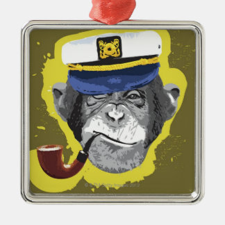 Chimpanzee Smoking Pipe Christmas Ornament