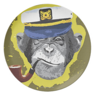 Chimpanzee Smoking Pipe Plate