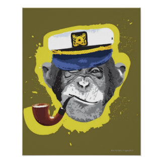 Chimpanzee Smoking Pipe Poster