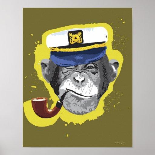 Chimpanzee Smoking Pipe Poster