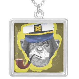 Chimpanzee Smoking Pipe Silver Plated Necklace