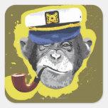 Chimpanzee Smoking Pipe Square Sticker