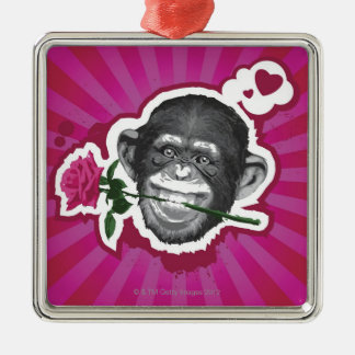 Chimpanzee with a Rose in his Mouth Silver-Colored Square Decoration