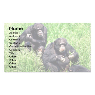 Chimpanzees eating grass (note infant) Double-Sided standard business cards (Pack of 100)