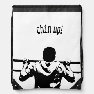 Chin Up! Drawstring Backpacks