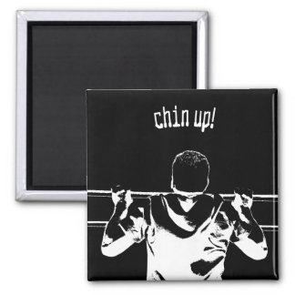 Chin Up! Square Magnet