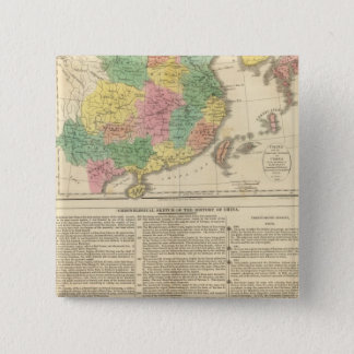 China and Japan Atlas Map 15 Cm Square Badge