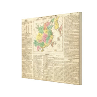 China and Japan Atlas Map Canvas Print