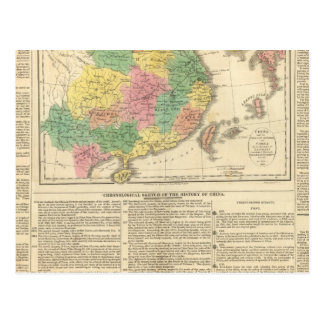 China and Japan Atlas Map Postcard