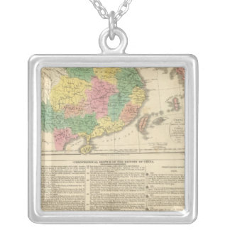 China and Japan Atlas Map Silver Plated Necklace
