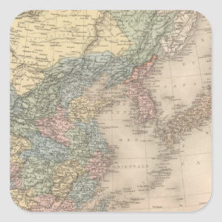 China and Korea Square Sticker