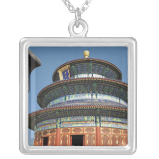 China, Beijing, Temple of Heaven, Chinese Urn in Square Pendant Necklace