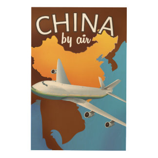 China By air travel poster