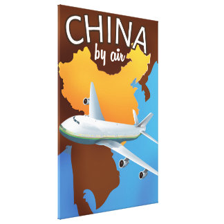 China By air travel poster Canvas Print
