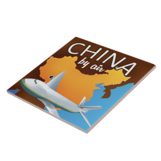 China By air travel poster Large Square Tile