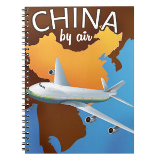 China By air travel poster Notebook