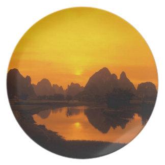 China. Colorful China. Beautiful Li river. Plate