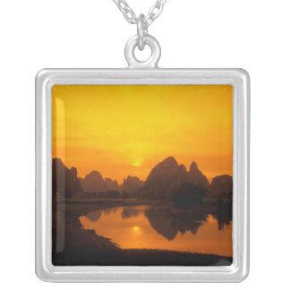 China. Colorful China. Beautiful Li river. Silver Plated Necklace