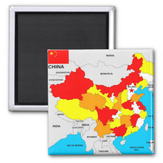 china country political map flag square magnet