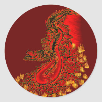 China Dragon red and gold design Round Sticker