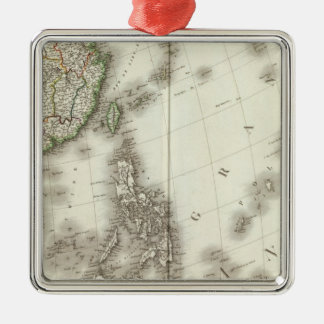 China Engraved Map Silver-Colored Square Decoration