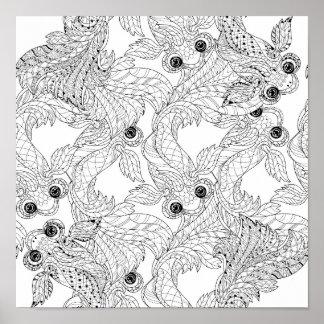 China Fish Doodle 2 Poster