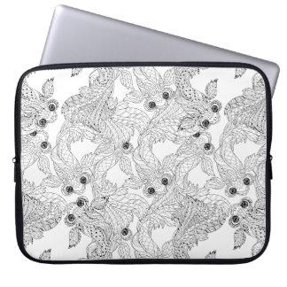 China Fish Doodle Laptop Sleeve