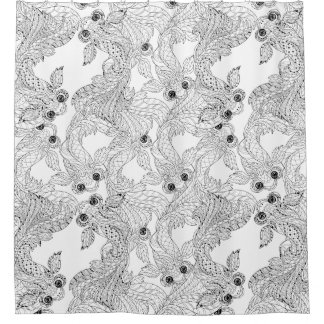 China Fish Doodle Shower Curtain