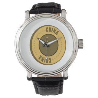 China Flag Gold Coin Wrist Watch