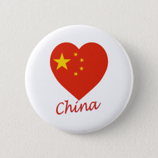 China Flag Heart 6 Cm Round Badge