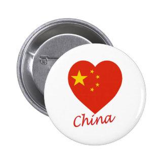 China Flag Heart 6 Cm Round Badge